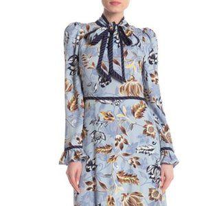 BCBGMAXAZRIA Floral Pattern Tie Neck Blue Dress